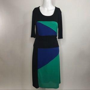 BCBGMaxAzria Colorblock Short Sleeve Dress Tie Med